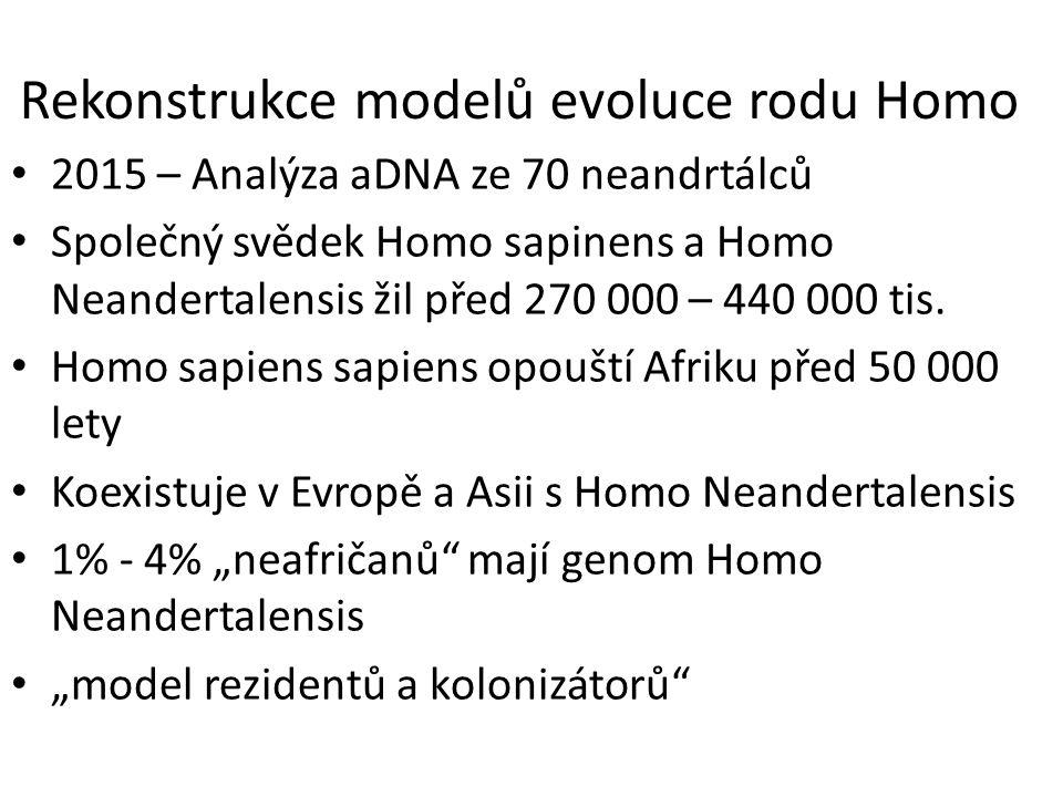 Rekonstrukce modelů evoluce rodu Homo 2015 – Analýza aDNA ze 70 neandrtálců Společný svědek Homo sapinens a Homo Neandertalensis žil před 270 000 – 440 000 tis.