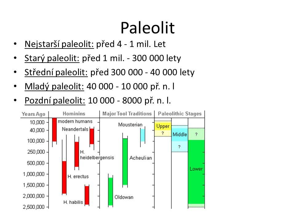 Paleolit Nejstarší paleolit: před 4 - 1 mil. Let Starý paleolit: před 1 mil.