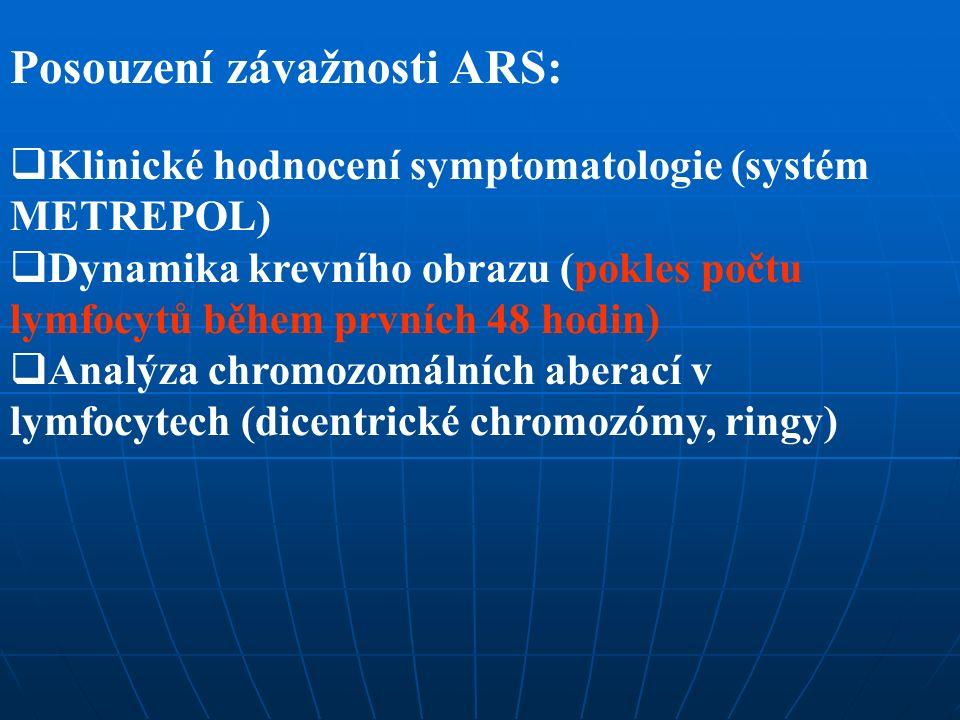 Posouzení závažnosti ARS:  Klinické hodnocení symptomatologie (systém METREPOL)  Dynamika krevního obrazu (pokles počtu lymfocytů během prvních 48 h