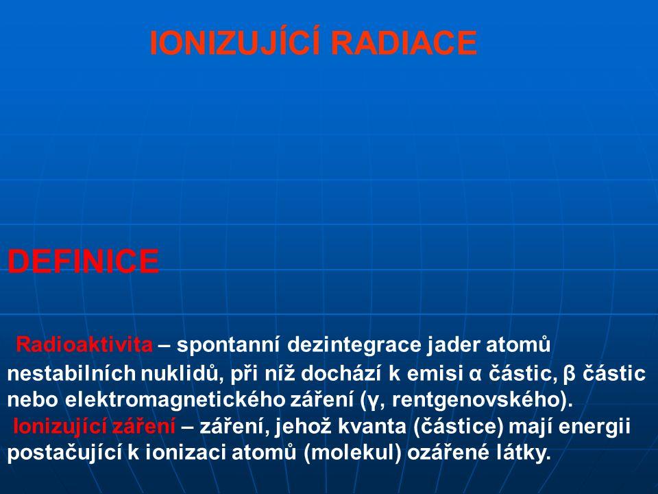 IONIZUJÍCÍ RADIACE DEFINICE Radioaktivita – spontanní dezintegrace jader atomů nestabilních nuklidů, při níž dochází k emisi α částic, β částic nebo elektromagnetického záření (γ, rentgenovského).