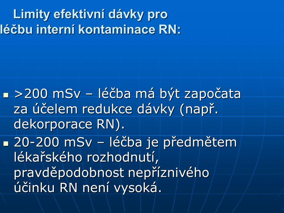 Limity efektivní dávky pro léčbu interní kontaminace RN: >200 mSv – léčba má být započata za účelem redukce dávky (např. dekorporace RN). >200 mSv – l
