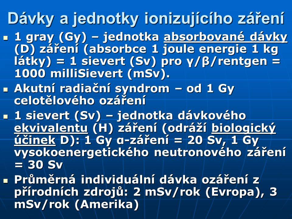 Dávky a jednotky ionizujícího záření 1 gray (Gy) – jednotka absorbované dávky (D) záření (absorbce 1 joule energie 1 kg látky) = 1 sievert (Sv) pro γ/