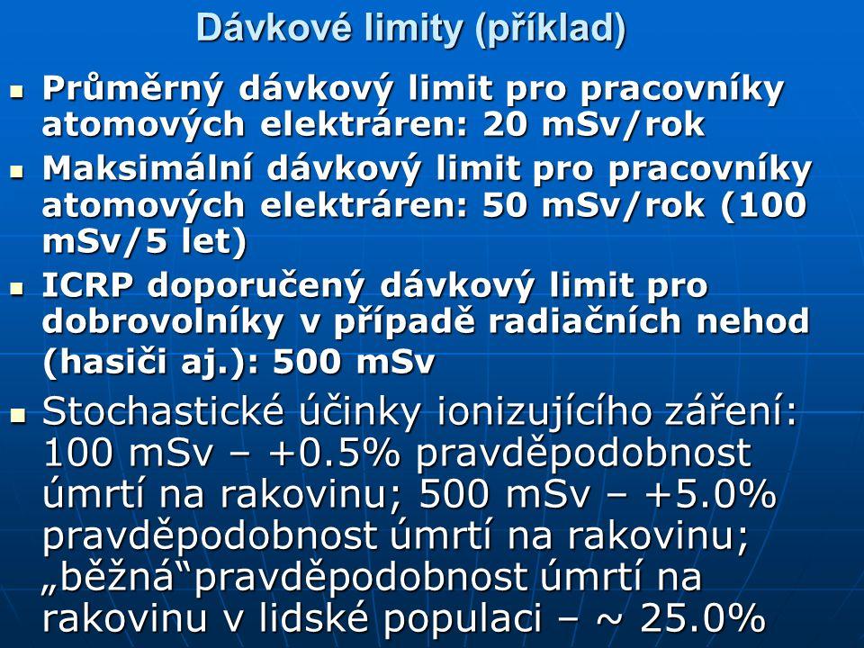"""Dávkové limity (příklad) Průměrný dávkový limit pro pracovníky atomových elektráren: 20 mSv/rok Průměrný dávkový limit pro pracovníky atomových elektráren: 20 mSv/rok Maksimální dávkový limit pro pracovníky atomových elektráren: 50 mSv/rok (100 mSv/5 let) Maksimální dávkový limit pro pracovníky atomových elektráren: 50 mSv/rok (100 mSv/5 let) ICRP doporučený dávkový limit pro dobrovolníky v případě radiačních nehod (hasiči aj.): 500 mSv ICRP doporučený dávkový limit pro dobrovolníky v případě radiačních nehod (hasiči aj.): 500 mSv Stochastické účinky ionizujícího záření: 100 mSv – +0.5% pravděpodobnost úmrtí na rakovinu; 500 mSv – +5.0% pravděpodobnost úmrtí na rakovinu; """"běžná pravděpodobnost úmrtí na rakovinu v lidské populaci – ~ 25.0% Stochastické účinky ionizujícího záření: 100 mSv – +0.5% pravděpodobnost úmrtí na rakovinu; 500 mSv – +5.0% pravděpodobnost úmrtí na rakovinu; """"běžná pravděpodobnost úmrtí na rakovinu v lidské populaci – ~ 25.0%"""