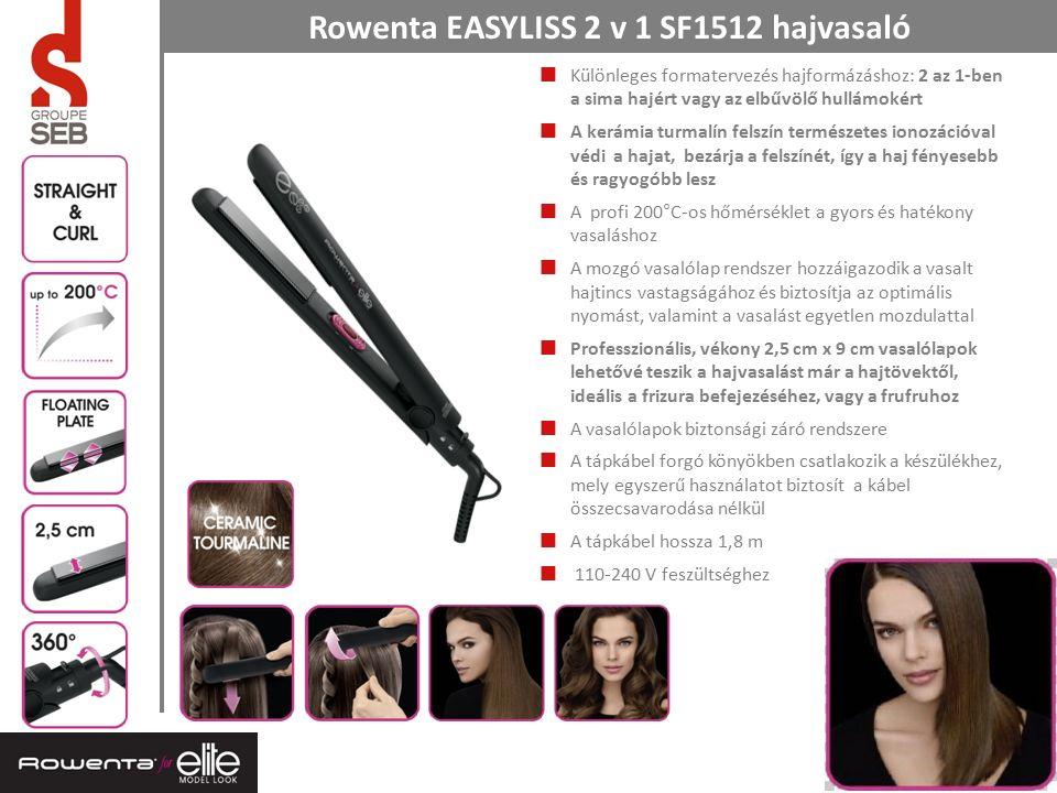 3 Rowenta EASYLISS 2 v 1 SF1512 hajvasaló Különleges formatervezés hajformázáshoz: 2 az 1-ben a sima hajért vagy az elbűvölő hullámokért A kerámia turmalín felszín természetes ionozációval védi a hajat, bezárja a felszínét, így a haj fényesebb és ragyogóbb lesz A profi 200°C-os hőmérséklet a gyors és hatékony vasaláshoz A mozgó vasalólap rendszer hozzáigazodik a vasalt hajtincs vastagságához és biztosítja az optimális nyomást, valamint a vasalást egyetlen mozdulattal Professzionális, vékony 2,5 cm x 9 cm vasalólapok lehetővé teszik a hajvasalást már a hajtövektől, ideális a frizura befejezéséhez, vagy a frufruhoz A vasalólapok biztonsági záró rendszere A tápkábel forgó könyökben csatlakozik a készülékhez, mely egyszerű használatot biztosít a kábel összecsavarodása nélkül A tápkábel hossza 1,8 m 110-240 V feszültséghez