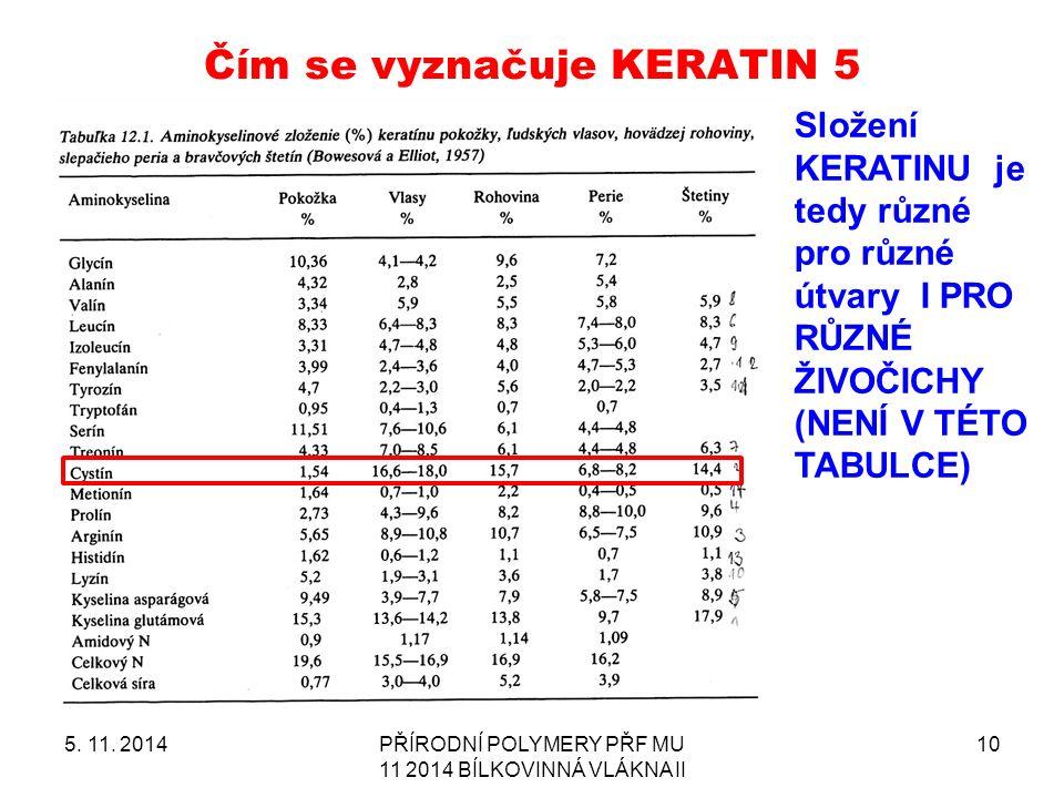 Čím se vyznačuje KERATIN 5 5. 11.