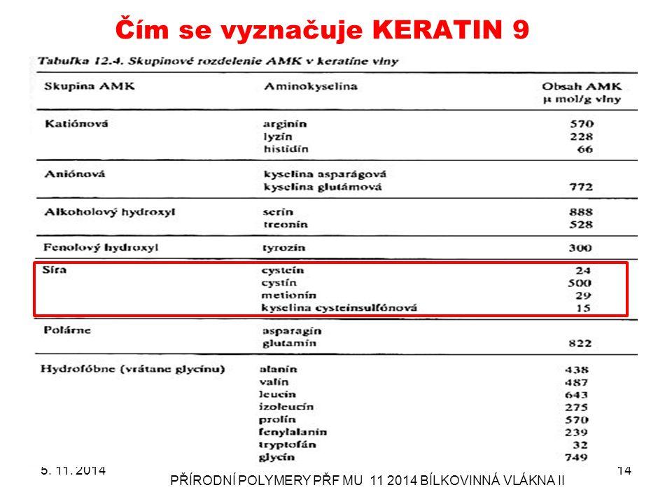 Čím se vyznačuje KERATIN 9 5. 11. 2014 PŘÍRODNÍ POLYMERY PŘF MU 11 2014 BÍLKOVINNÁ VLÁKNA II 14