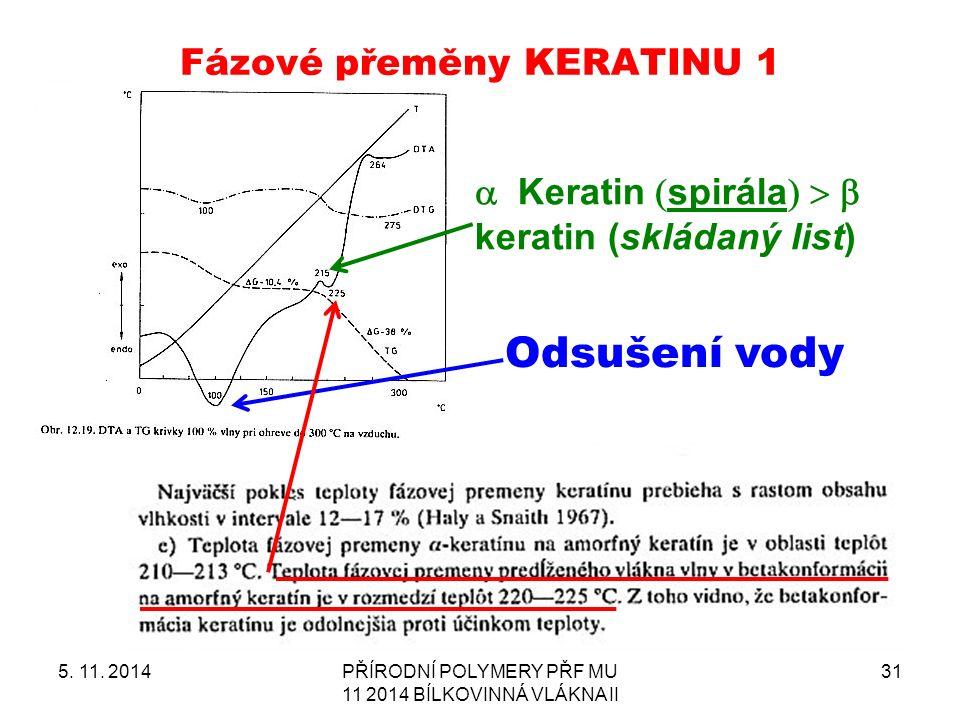 Fázové přeměny KERATINU 1 5. 11.