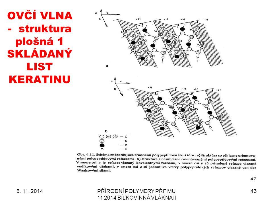 OVČÍ VLNA - struktura plošná 1 SKLÁDANÝ LIST KERATINU 5. 11. 2014PŘÍRODNÍ POLYMERY PŘF MU 11 2014 BÍLKOVINNÁ VLÁKNA II 43