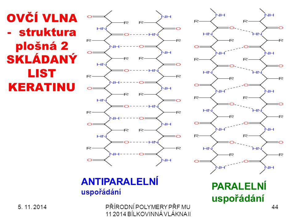OVČÍ VLNA - struktura plošná 2 SKLÁDANÝ LIST KERATINU 5. 11. 2014PŘÍRODNÍ POLYMERY PŘF MU 11 2014 BÍLKOVINNÁ VLÁKNA II 44 ANTIPARALELNÍ uspořádání PAR