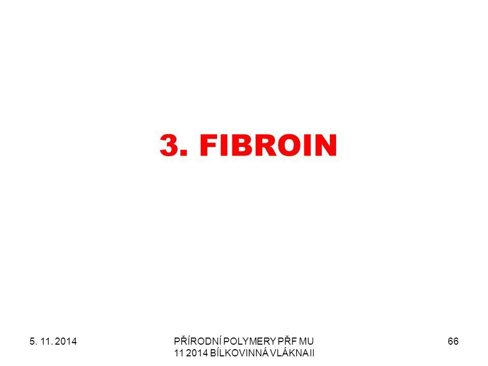 3. FIBROIN 5. 11. 2014PŘÍRODNÍ POLYMERY PŘF MU 11 2014 BÍLKOVINNÁ VLÁKNA II 66
