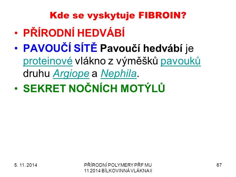 Kde se vyskytuje FIBROIN.