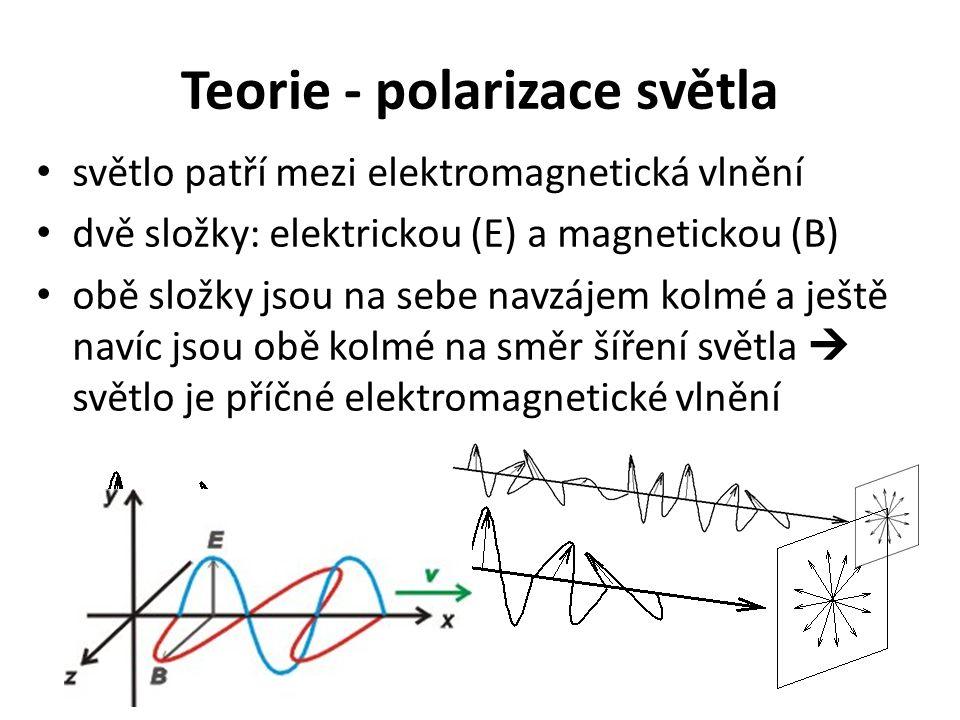 Teorie - polarizace světla světlo patří mezi elektromagnetická vlnění dvě složky: elektrickou (E) a magnetickou (B) obě složky jsou na sebe navzájem kolmé a ještě navíc jsou obě kolmé na směr šíření světla  světlo je příčné elektromagnetické vlnění