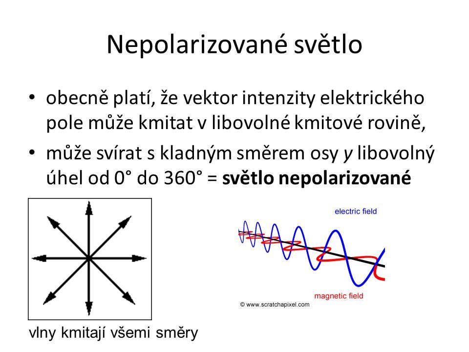 Nepolarizované světlo obecně platí, že vektor intenzity elektrického pole může kmitat v libovolné kmitové rovině, může svírat s kladným směrem osy y libovolný úhel od 0° do 360° = světlo nepolarizované vlny kmitají všemi směry