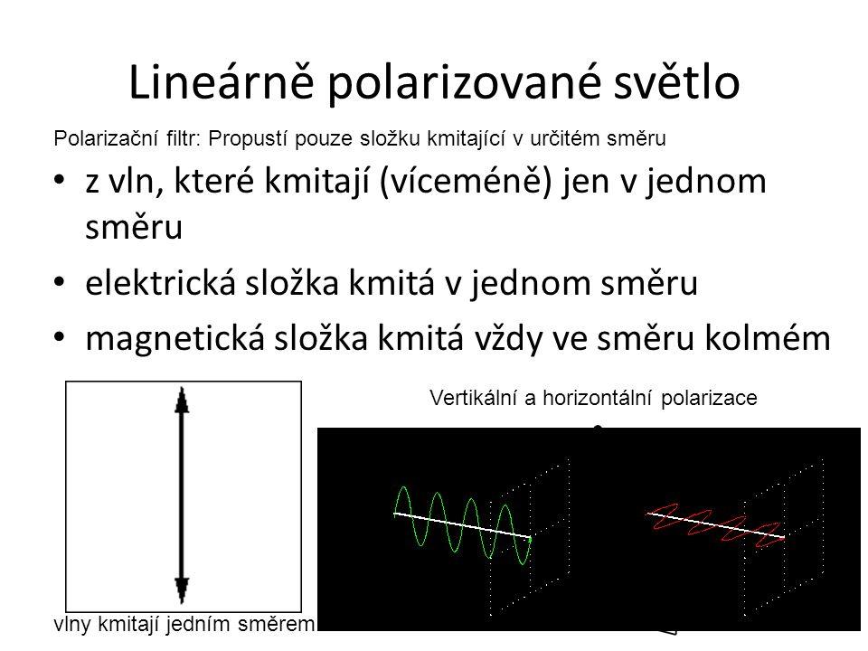 Lineárně polarizované světlo z vln, které kmitají (víceméně) jen v jednom směru elektrická složka kmitá v jednom směru magnetická složka kmitá vždy ve směru kolmém vlny kmitají jedním směrem Vertikální a horizontální polarizace Polarizační filtr: Propustí pouze složku kmitající v určitém směru
