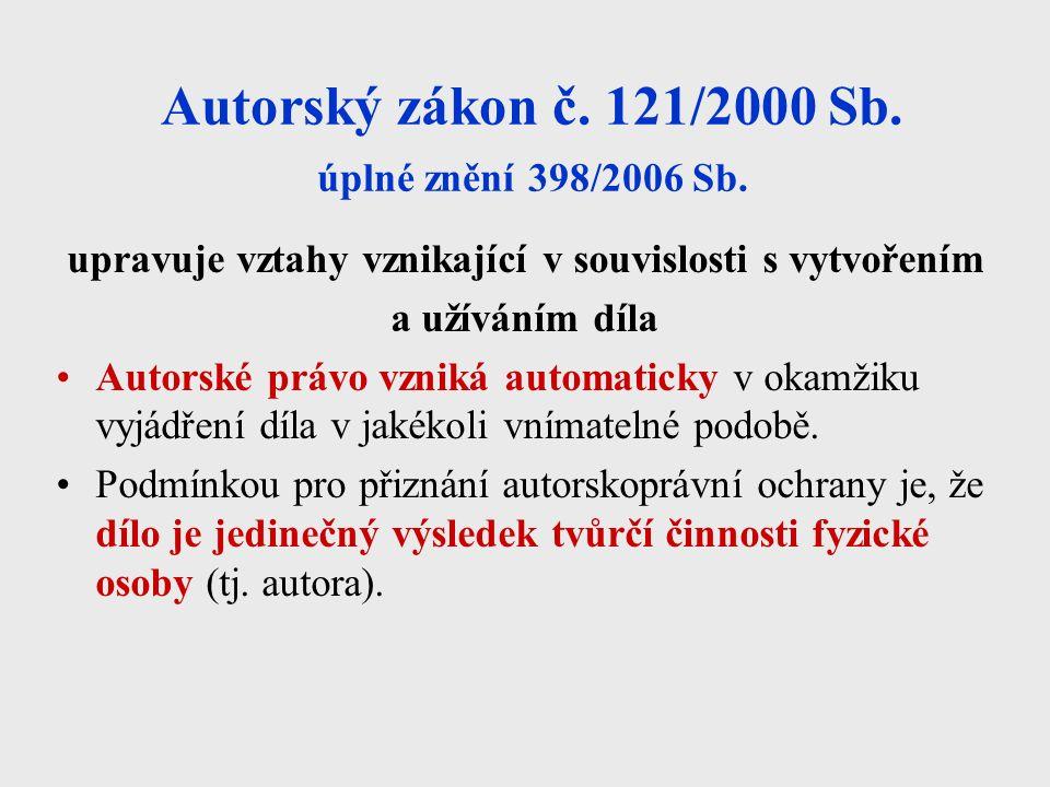 Autorský zákon č. 121/2000 Sb. úplné znění 398/2006 Sb.