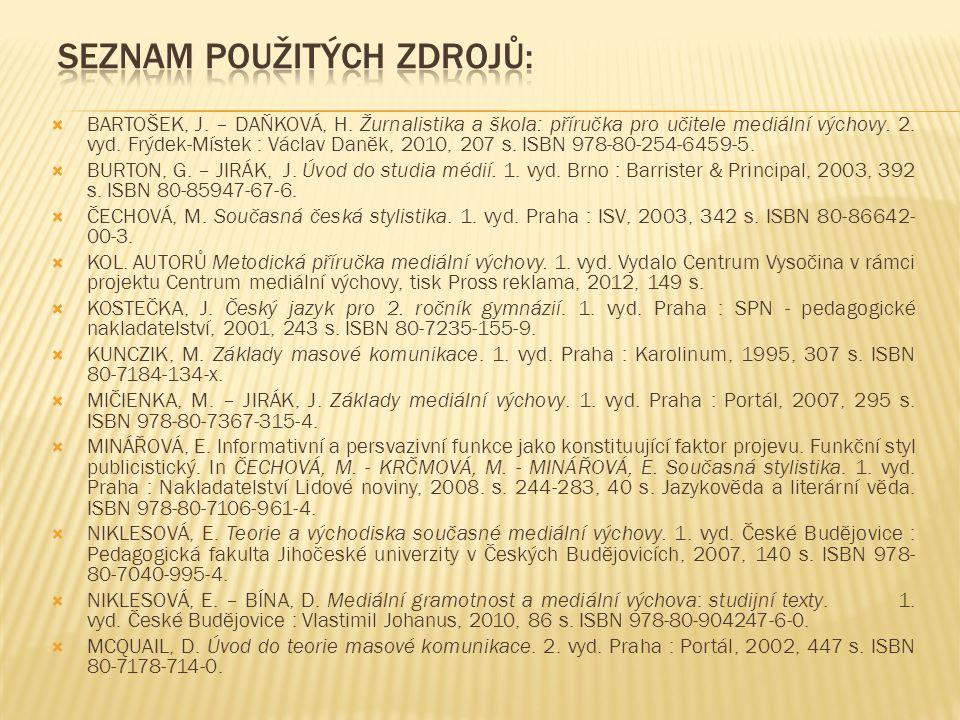  BARTOŠEK, J.– DAŇKOVÁ, H. Žurnalistika a škola: příručka pro učitele mediální výchovy.