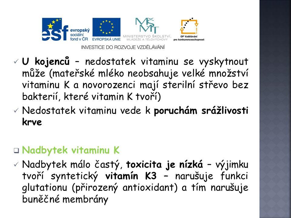  Význam vitaminu K Důležitý pro srážení krve (tvorba protrombinu) – je to tzv.