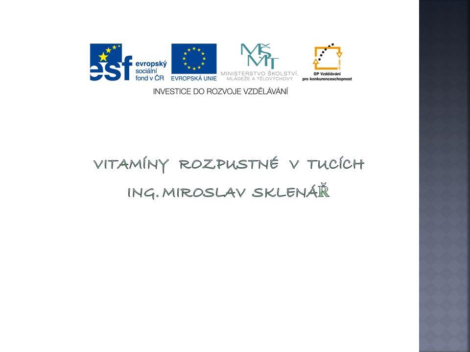  Znehodnocení vitaminu E Neničí se vařením, ale podobně jako vitamín A se ničí oxidací a působením světla Tablety vitaminu E proto skladujeme v temnu a chladu