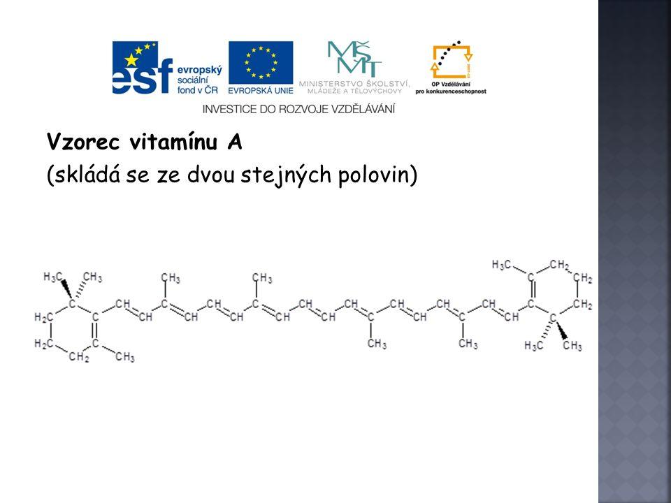 Vzorec vitamínu A (skládá se ze dvou stejných polovin)