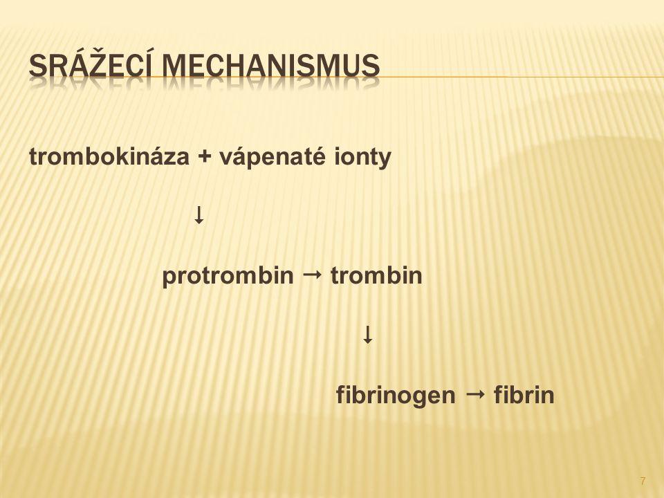 trombokináza – enzym, který produkují trombocyty ( poraněná céva ), působí na enzym krevní plazmy protrombin, který vzniká v játrech a aktivuje ho na trombin, který sráží bílkovinu krevní plazmy fibrinogen na fibrin, která vytvoří síť, do které se zachycují krevní buňky  sraženina – krevní koláč, který vytlačí krevní sérum, nažloutlá tekutina, která pomáhá vytvořit strup 8