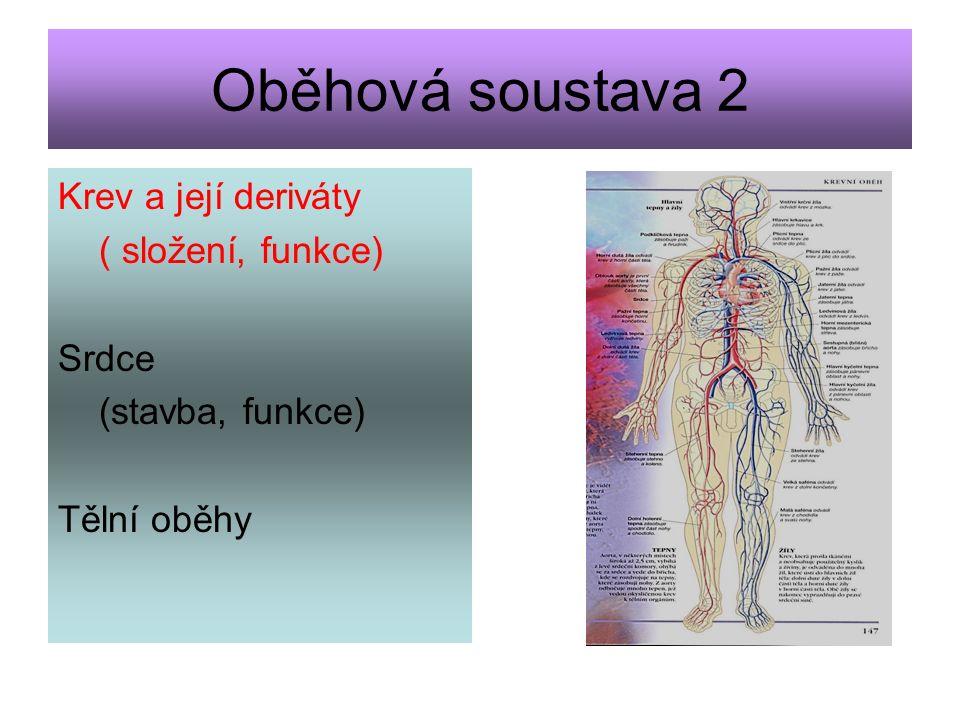 Oběhová soustava 2 Krev a její deriváty ( složení, funkce) Srdce (stavba, funkce) Tělní oběhy