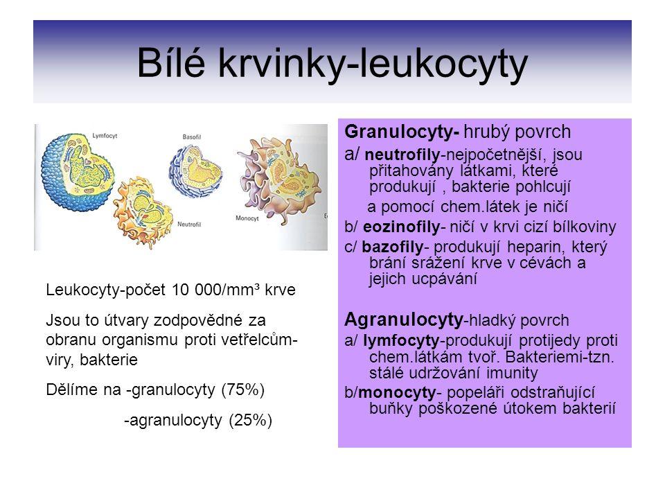Krevní destičky- trombocyty Trombocyty jsou nepravidelné útvary zajišťující ochranu proti ztrátám krve při poškození cévy.
