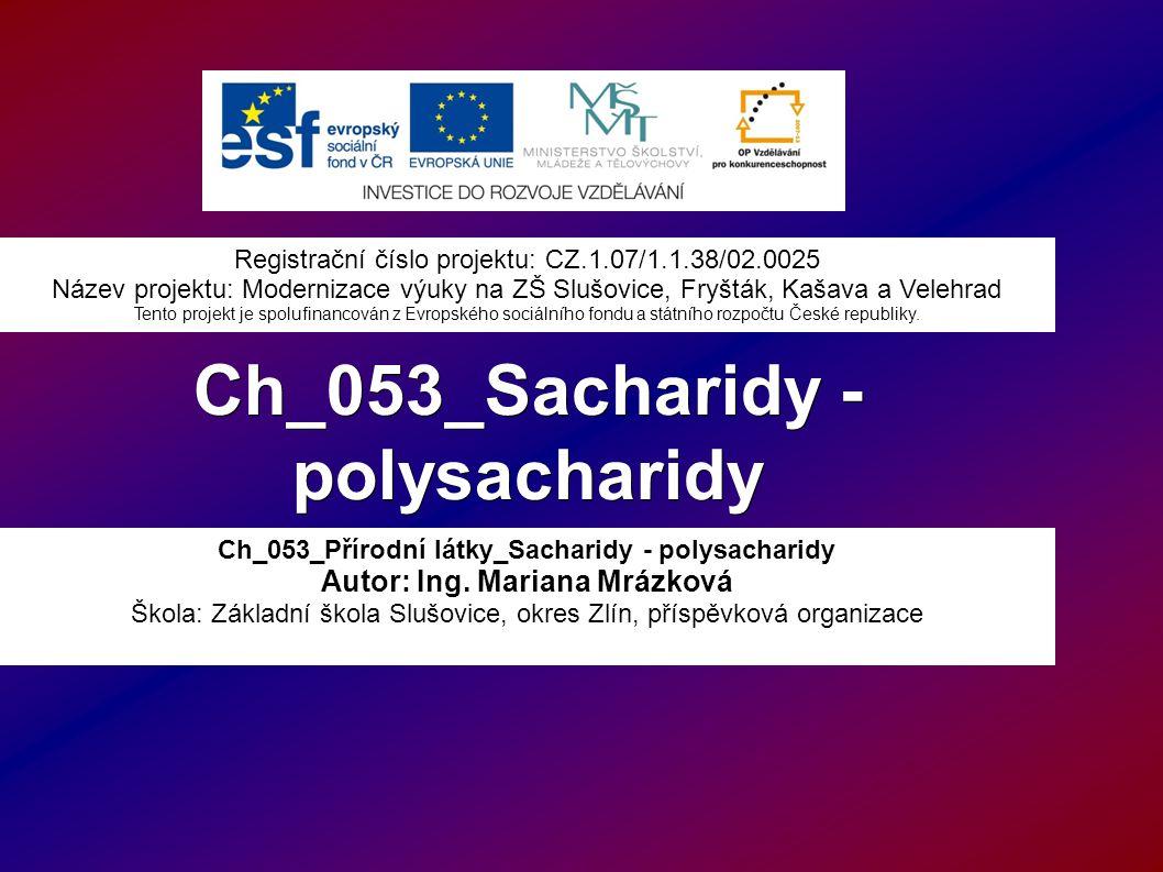 Ch_053_Sacharidy - polysacharidy Ch_053_Přírodní látky_Sacharidy - polysacharidy Autor: Ing.