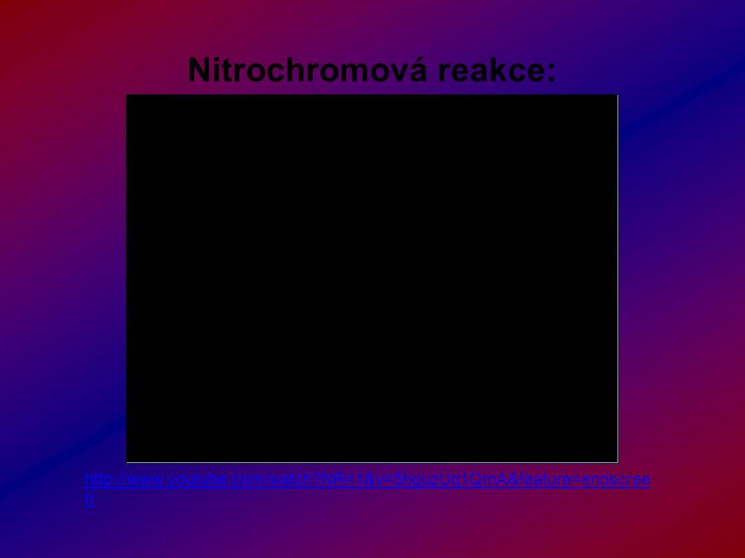 Nitrochromová reakce: http://www.youtube.com/watch?NR=1&v=5hguzUq1QmA&feature=endscree n