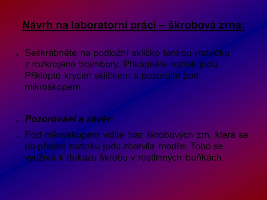 Návrh na laboratorní práci – škrobová zrna: ● Seškrábněte na podložní sklíčko tenkou vrstvičku z rozkrojené brambory.