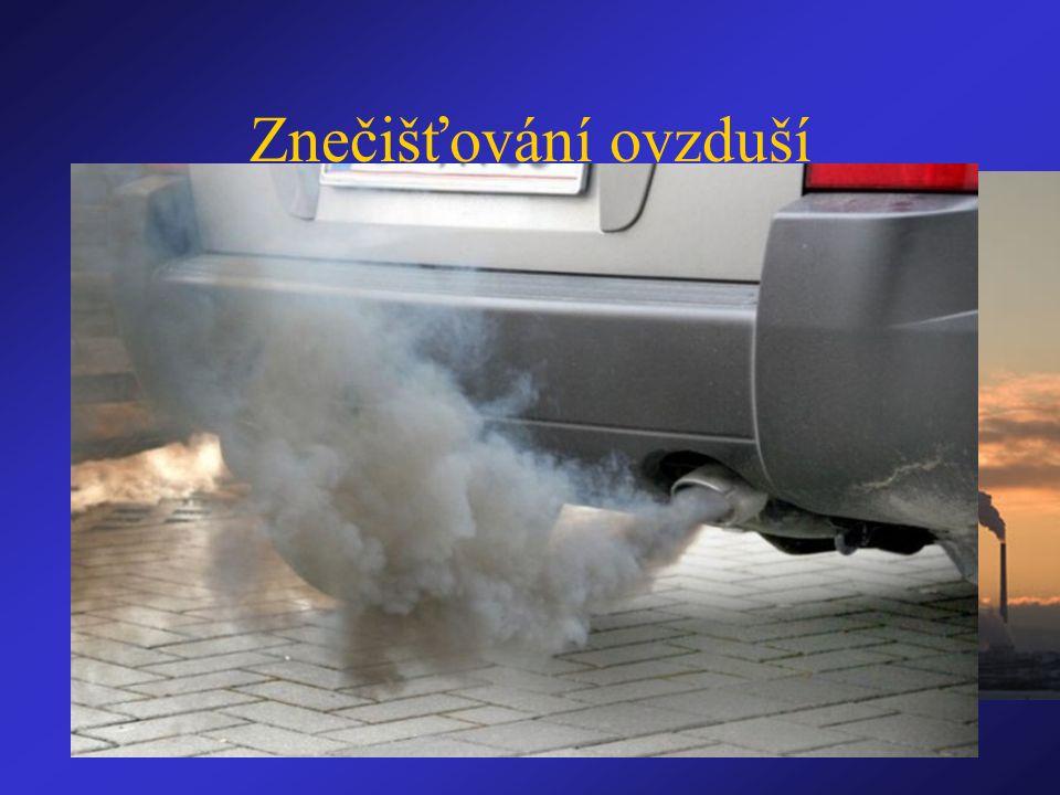 Znečišťování ovzduší 1) teplárny, tepelné elektrárny 2) automobilová doprava 3) lokální topeniště