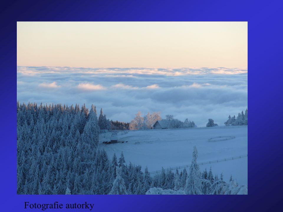 Teplotní inverze studený vzduch se drží u země teplota vzduchu směrem nahoru stoupá na horách je jasno – teplo, v nížinách je zima a oblačno Fotografie autorky
