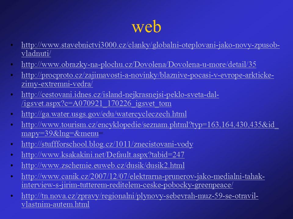 web http://www.stavebnictvi3000.cz/clanky/globalni-oteplovani-jako-novy-zpusob- vladnuti/http://www.stavebnictvi3000.cz/clanky/globalni-oteplovani-jako-novy-zpusob- vladnuti/ http://www.obrazky-na-plochu.cz/Dovolena/Dovolena-u-more/detail/35 http://procproto.cz/zajimavosti-a-novinky/blaznive-pocasi-v-evrope-arkticke- zimy-extremni-vedra/http://procproto.cz/zajimavosti-a-novinky/blaznive-pocasi-v-evrope-arkticke- zimy-extremni-vedra/ http://cestovani.idnes.cz/island-nejkrasnejsi-peklo-sveta-dal- /igsvet.aspx?c=A070921_170226_igsvet_tomhttp://cestovani.idnes.cz/island-nejkrasnejsi-peklo-sveta-dal- /igsvet.aspx?c=A070921_170226_igsvet_tom http://ga.water.usgs.gov/edu/watercycleczech.html http://www.tourism.cz/encyklopedie/seznam.phtml?typ=163,164,430,435&id_ mapy=39&lng=&menu=http://www.tourism.cz/encyklopedie/seznam.phtml?typ=163,164,430,435&id_ mapy=39&lng=&menu http://stuffforschool.blog.cz/1011/znecistovani-vody http://www.ksakakini.net/Default.aspx?tabid=247 http://www.zschemie.euweb.cz/dusik/dusik2.html http://www.canik.cz/2007/12/07/elektrarna-prunerov-jako-medialni-tahak- interview-s-jirim-tutterem-reditelem-ceske-pobocky-greenpeace/http://www.canik.cz/2007/12/07/elektrarna-prunerov-jako-medialni-tahak- interview-s-jirim-tutterem-reditelem-ceske-pobocky-greenpeace/ http://tn.nova.cz/zpravy/regionalni/plynovy-sebevrah-muz-59-se-otravil- vlastnim-autem.htmlhttp://tn.nova.cz/zpravy/regionalni/plynovy-sebevrah-muz-59-se-otravil- vlastnim-autem.html