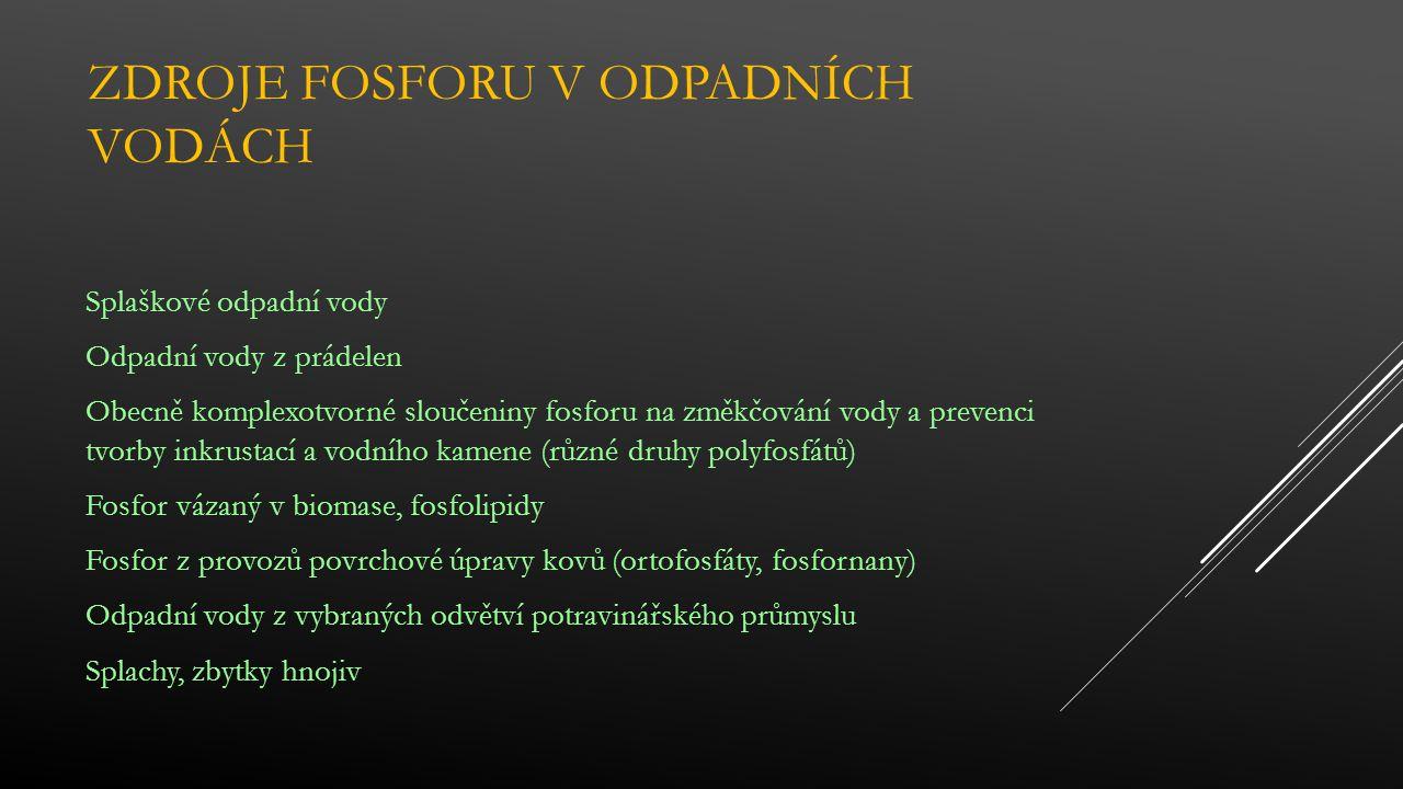 ZDROJE FOSFORU V ODPADNÍCH VODÁCH Splaškové odpadní vody Odpadní vody z prádelen Obecně komplexotvorné sloučeniny fosforu na změkčování vody a prevenci tvorby inkrustací a vodního kamene (různé druhy polyfosfátů) Fosfor vázaný v biomase, fosfolipidy Fosfor z provozů povrchové úpravy kovů (ortofosfáty, fosfornany) Odpadní vody z vybraných odvětví potravinářského průmyslu Splachy, zbytky hnojiv