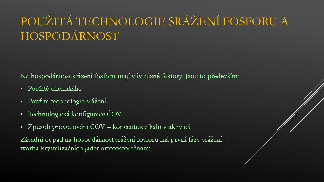 POUŽITÁ TECHNOLOGIE SRÁŽENÍ FOSFORU A HOSPODÁRNOST Na hospodárnost srážení fosforu mají vliv různé faktory.