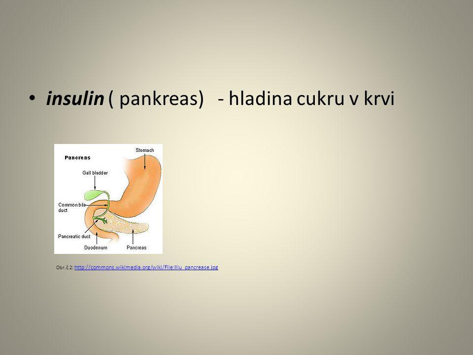 insulin ( pankreas) - hladina cukru v krvi Obr.č.2: http://commons.wikimedia.org/wiki/File:Illu_pancrease.jpg http://commons.wikimedia.org/wiki/File:Illu_pancrease.jpg