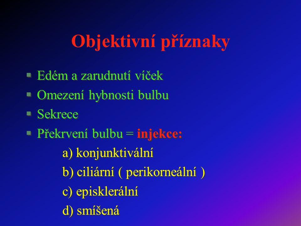 Objektivní příznaky §Edém a zarudnutí víček §Omezení hybnosti bulbu §Sekrece §Překrvení bulbu = injekce: a) konjunktivální b) ciliární ( perikorneální ) c) episklerální d) smíšená §Edém a zarudnutí víček §Omezení hybnosti bulbu §Sekrece §Překrvení bulbu = injekce: a) konjunktivální b) ciliární ( perikorneální ) c) episklerální d) smíšená