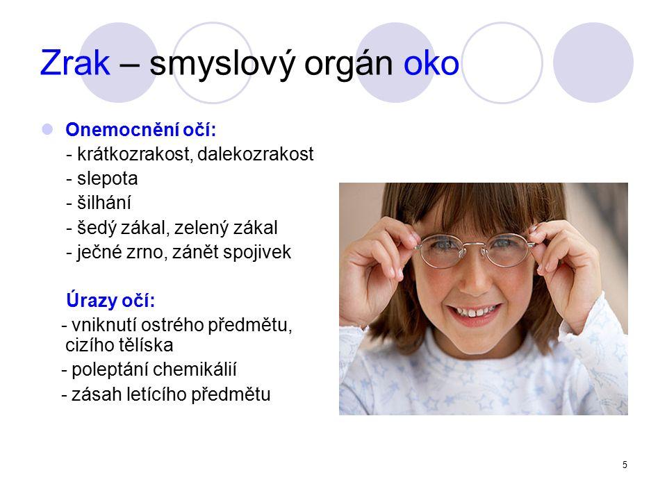 5 Zrak – smyslový orgán oko Onemocnění očí: - krátkozrakost, dalekozrakost - slepota - šilhání - šedý zákal, zelený zákal - ječné zrno, zánět spojivek Úrazy očí: - vniknutí ostrého předmětu, cizího tělíska - poleptání chemikálií - zásah letícího předmětu
