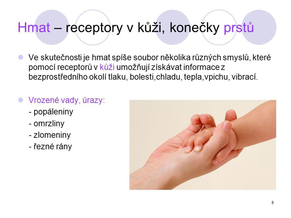 8 Hmat – receptory v kůži, konečky prstů Ve skutečnosti je hmat spíše soubor několika různých smyslů, které pomocí receptorů v kůži umožňují získávat informace z bezprostředního okolí tlaku, bolesti,chladu, tepla,vpichu, vibrací.