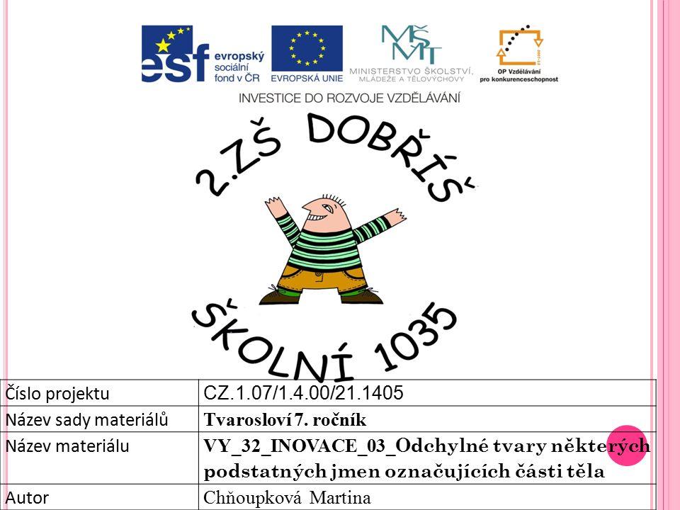 Číslo projektu CZ.1.07/1.4.00/21.1405 Název sady materiálů Tvarosloví 7.