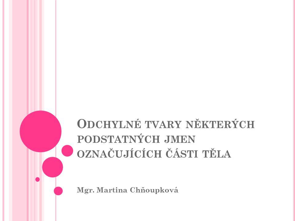O DCHYLNÉ TVARY NĚKTERÝCH PODSTATNÝCH JMEN OZNAČUJÍCÍCH ČÁSTI TĚLA Mgr. Martina Chňoupková