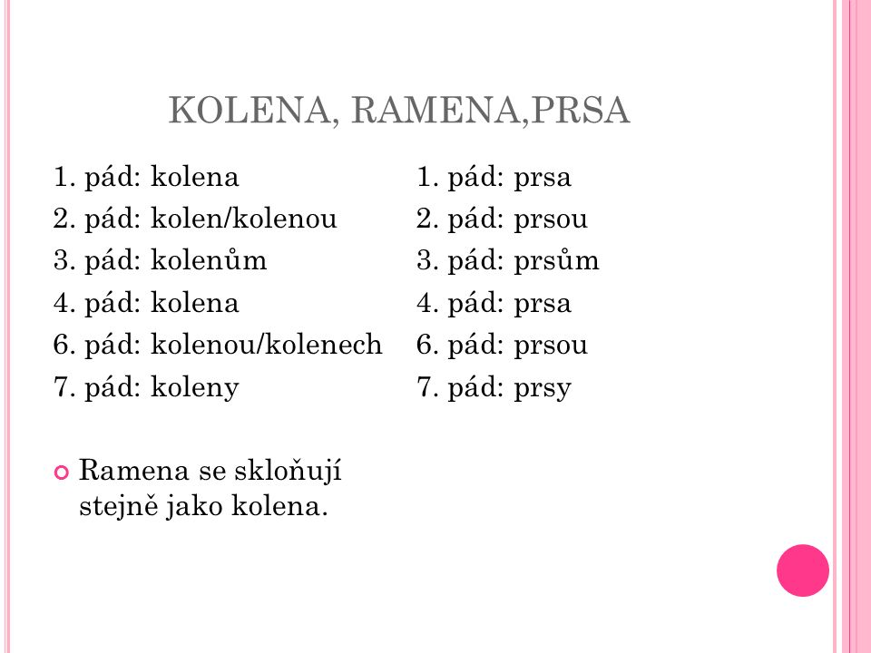 KOLENA, RAMENA,PRSA 1. pád: kolena 2. pád: kolen/kolenou 3. pád: kolenům 4. pád: kolena 6. pád: kolenou/kolenech 7. pád: koleny Ramena se skloňují ste