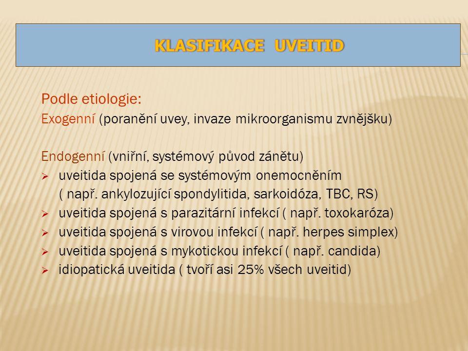 Podle etiologie: Exogenní (poranění uvey, invaze mikroorganismu zvnějšku) Endogenní (vniřní, systémový původ zánětu)  uveitida spojená se systémovým onemocněním ( např.