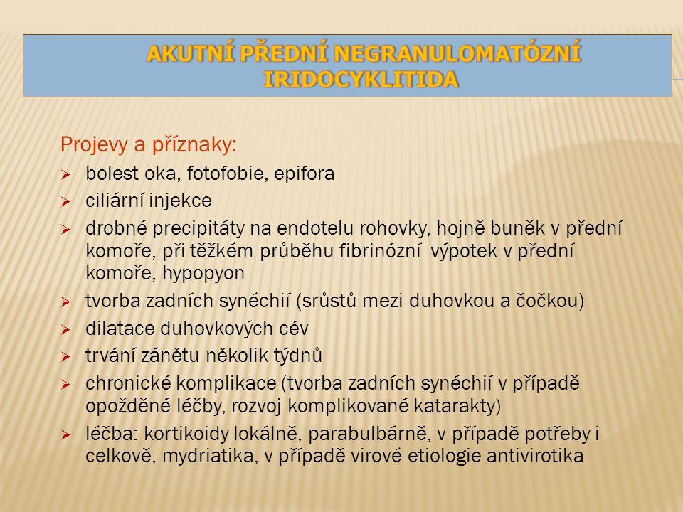Projevy a příznaky:  bolest oka, fotofobie, epifora  ciliární injekce  drobné precipitáty na endotelu rohovky, hojně buněk v přední komoře, při těžkém průběhu fibrinózní výpotek v přední komoře, hypopyon  tvorba zadních synéchií (srůstů mezi duhovkou a čočkou)  dilatace duhovkových cév  trvání zánětu několik týdnů  chronické komplikace (tvorba zadních synéchií v případě opožděné léčby, rozvoj komplikované katarakty)  léčba: kortikoidy lokálně, parabulbárně, v případě potřeby i celkově, mydriatika, v případě virové etiologie antivirotika