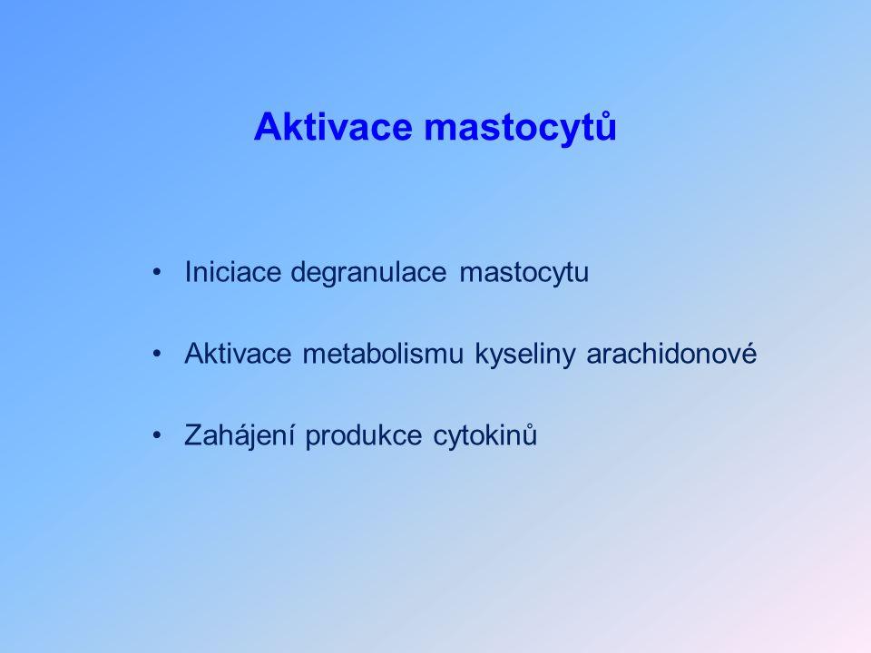 Aktivace mastocytů Iniciace degranulace mastocytu Aktivace metabolismu kyseliny arachidonové Zahájení produkce cytokinů