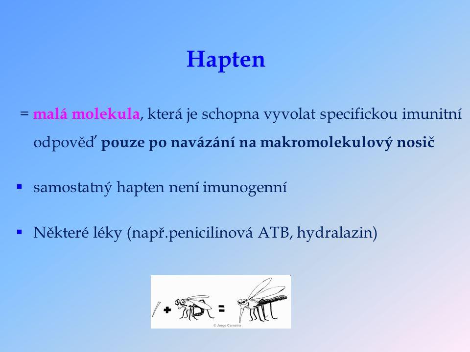 Hapten = malá molekula, která je schopna vyvolat specifickou imunitní odpověď pouze po navázání na makromolekulový nosič  samostatný hapten není imunogenní  Některé léky (např.penicilinová ATB, hydralazin)