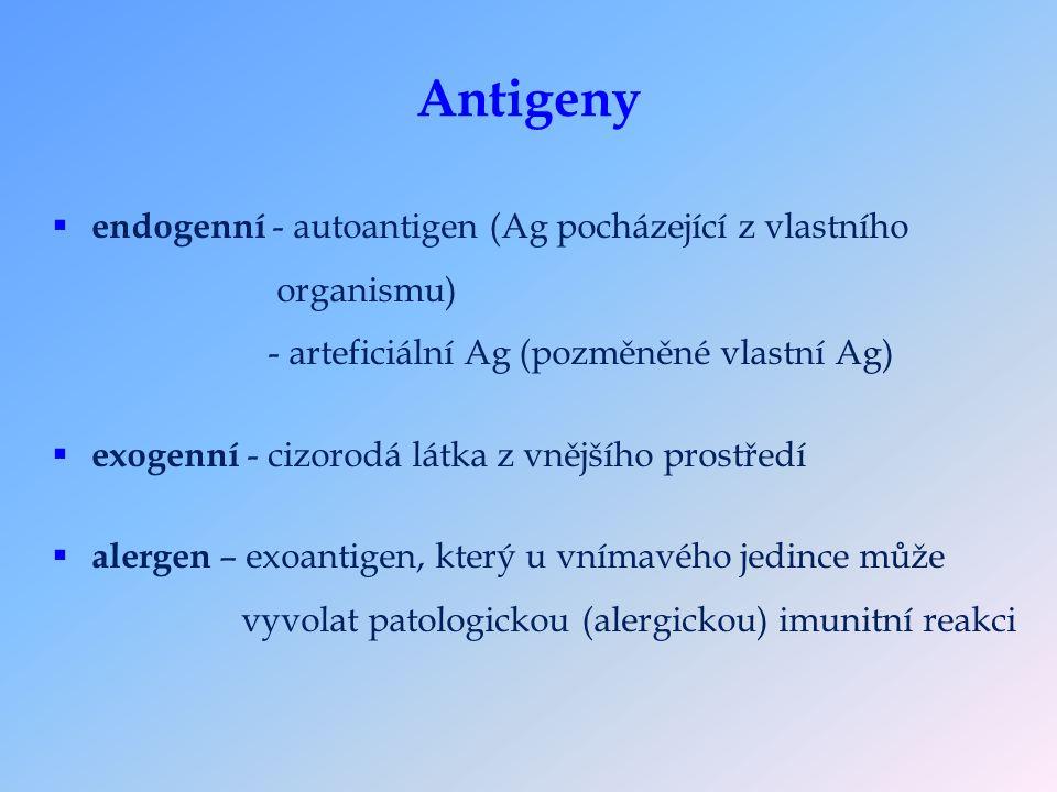 Antigeny  endogenní - autoantigen (Ag pocházející z vlastního organismu) - arteficiální Ag (pozměněné vlastní Ag)  exogenní - cizorodá látka z vnějšího prostředí  alergen – exoantigen, který u vnímavého jedince může vyvolat patologickou (alergickou) imunitní reakci