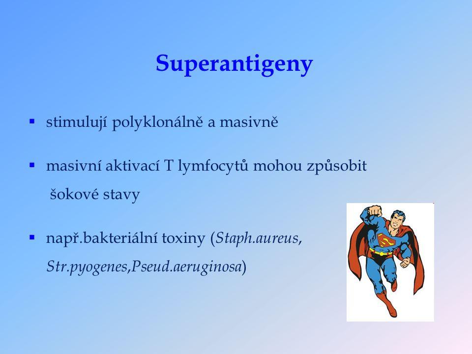  stimulují polyklonálně a masivně  masivní aktivací T lymfocytů mohou způsobit šokové stavy  např.bakteriální toxiny ( Staph.aureus, Str.pyogenes, Pseud.aeruginosa ) Superantigeny