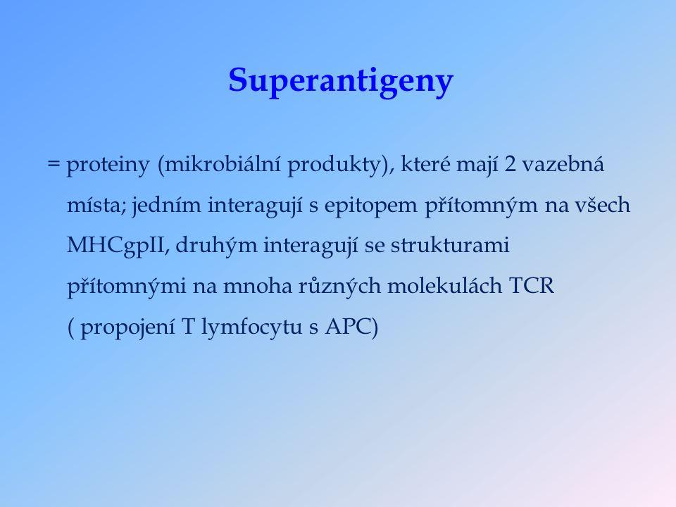 = proteiny (mikrobiální produkty), které mají 2 vazebná místa; jedním interagují s epitopem přítomným na všech MHCgpII, druhým interagují se strukturami přítomnými na mnoha různých molekulách TCR ( propojení T lymfocytu s APC)