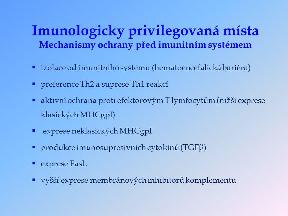 Imunologicky privilegovaná místa Mechanismy ochrany před imunitním systémem  izolace od imunitního systému (hematoencefalická bariéra)  preference Th2 a suprese Th1 reakcí  aktivní ochrana proti efektorovým T lymfocytům (nižší exprese klasických MHCgpI)  exprese neklasických MHCgpI  produkce imunosupresivních cytokinů (TGFβ)  exprese FasL  vyšší exprese membránových inhibitorů komplementu