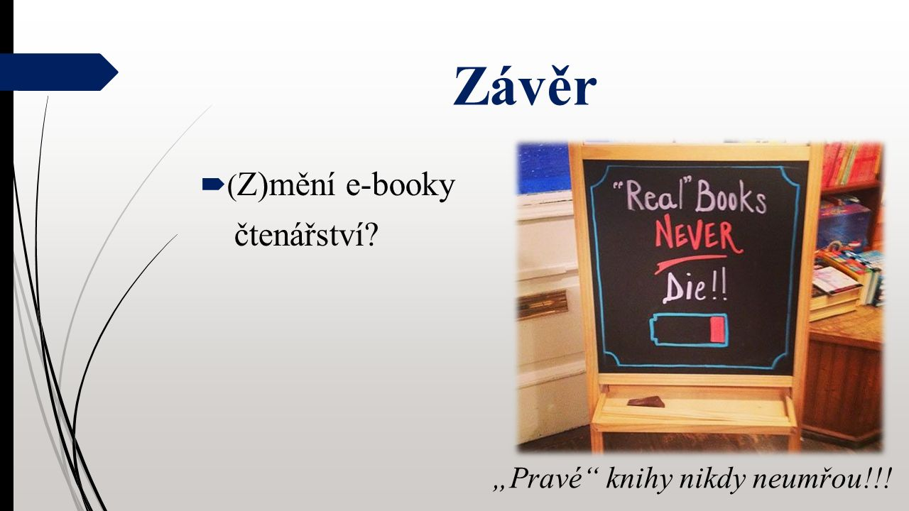 """Závěr  ( Z)mění e-booky čtenářství """"Pravé knihy nikdy neumřou!!!"""